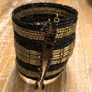 Jewelry - Black and Gold Beaded Cuff Bangle Bracelet